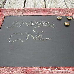 Shabby Shic Magnetic Chalkboard, Red Frame by Karen's Chic N Shabby - This great shabby chic magnetic chalkboard is an Etsy find. I love the weathered frame and the buttons-turned-magnets (which may not come with the board, but they're a cute idea anyway!).