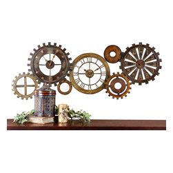 Grace Feyock - Grace Feyock Spare Parts Transitional Clock X-88760 - This unusual grouping of clocks is made of hand forged metal finished in a combination of dark chestnut brown, heavily antiqued gold and silver with burnished details. Quartz movement.