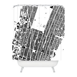 DENY Designs - CityFabric Inc NYC Midtown White Shower Curtain - Step behind an aerial view of New York City — the diagonal line being Broadway, baby, and that big white space in the middle being Central Park. If you can shower here, you can shower anywhere!