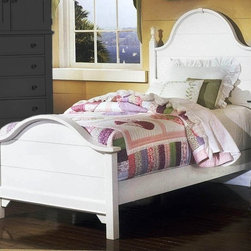 Vaughan Bassett - Double Slotted Panel Bed in Snow White Finish - Choose Bed Size: FullHeadboard and footboard have double slots for height adjustments. Optional trundle unit with face panel. Twin Size: (double slotted). Includes panel headboard, panel footboard and wood rails with 3 1-inch slats. Panel headboard: 41 in. L x 2 in. W x 58 in. H. Panel footboard: 43 in. L x 2.5 in. W x 29 in. H. Full Size: (double slotted). Includes panel headboard, panel footboard and wood rails with 3 1-inch slats. Panel headboard: 56.75 in. L x 2 in. W x 62 in. H. Panel footboard: 58.5 in. L x 2.5 in. W x 29 in. H. Wood rails: 76 L x 6 in. W x 1 in. H. Snow White finish. Assembly required