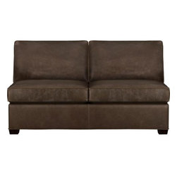 Davis Leather Sectional Armless Full Sleeper Sofa - Davis is a contemporary compact leather sectional sleeper designed for contemporary real life. Every imaginable configuration is possible between these modular pieces and the companion stand-alone pieces in a full-grain aniline dyed leather, all with firm but plump support. Natural markings and an innovative tannage technique highlight the leather's natural tones and rich character. Understated hardwood legs have a rich hickory stain. Sofa group also available.