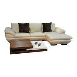 Beverly Hills Furniture Inc. - Prestige Modern Leather Sectional Sofa, Right Chaise - Available in Off-White full leather, this sectional sofa features padded arms, soft cushions and wooden legs.