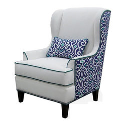 Chelsea Home - Wing Chair in Heavenly Oyster - Includes one kidney pillow. Patented seating unit equal to frame within a frame construction. 0.437 in. pewter nailheads. Seating comfort: Medium. Kiln-dried fortress frame construction. Dark trap legs provides extra durability. 0.88 in. hardwood arms are attached. Insulated power fasteners and covered. Heavyweight cardboard to shape curves. No seat cushion attached. No seat back cushion attached. Seat cushion is reversible. Heavy duty sinuous back springs spaced closely together for maximum back support and comfort. Heavier gauge coils around the perimeter of the drop in coil unit for support and balanced seating. 2.0 HD high resiliency foam. Sewn in channels for maximum shape retention and support. New damask marine pattern. Made from polyester and solid kiln-dried hardwood. Made in USA. No assembly required. Pillow: 22 in. L x 12 in. W. Seat height: 19 in.. Seat depth: 22 in.. Seat width: 21 in.. Overall: 30 in. W x 35 in. D x 43 in. H (56 lbs.)