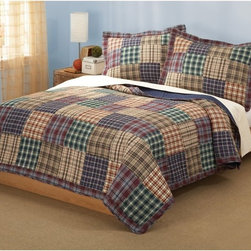 My World - Bradley Quilt Set Multicolor - QS6015KG-2300 - Shop for Home Furnishings and Accents from Hayneedle.com! The Bradley Quilt Set features a classic patchwork pattern with variations of coordinating plaid in red green blue and natural Earth tones. It's cozy it's timeless and it comes with matching decorative pillow shams.Comforter Dimensions:Twin: 86L x 68W in.Queen: 86L x 86W in.King: 90L x 100W in.About Pem AmericaMakers of high-quality handcrafted textiles Pem America Outlet specializes in bedding that enhances your comfort and emphasizes the importance of a good night's rest. Quilts comforters pillows and other items for the bedroom are made with care and craftsmanship by Pem America. Their products cover a wide range of materials styles colors and designs all made with long-lasting quality construction and soft long-wearing materials. Details like fine stitching embroidery and crochet decorations and reinforced seaming make Pem America bedding comfortable and just right for you and your family.