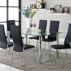 Hokku Designs - Chandler 7 Piece Dining Set - Features: -Materials: Stainless steel-chrome, leatherette and glass.-Chrome plated steel leg.-Four sleek chrome plated posted table legs partnered with clean rectangular shape glass top with smooth corners.-5'' Thick rounded corners glass top.-Streamlined high and gently curved back is extra padded to suits and seats all sizes.-Felt pads recommended.-Set includes one table and six chairs.-Collection: Chandler.-Distressed: No.Dimensions: -Table: 30'' H x 59'' W x 35.5'' D.-Chair: 40'' H x 17.25'' W x 22.38'' D.
