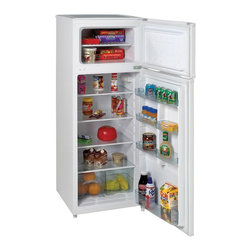 "Avanti - 7.4 cu.ft refrigerator, two door, white - ENERGY STAR RATED, Adjustable / Removable Glass Shelves, Adjustable / Removable Door Bins, Reversible Doors - Left or Right Swing, One Door Rack Holds 2-Liter Bottles, See Through Crisper with Glass Cover, Ice Cube Tray Included, Interior Light, Full Range Temperature Control, Leveling Legs, CFC Free R600A Refrigerant, Free standing installation only. Proper ventilation is required to maintain satisfactory cooling and overall performance. See owner?s manual for proper installation requirements. Unit dimensions 56"" H x 21.5"" W x 23"" D"
