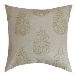 The Pillow Collection - Faeyza Floral Pillow Lemon Grass - Change up your decor style by decorating this chic throw pillow. Create a garden-inspired look in your living room, bedroom or kitchen with this square pillow. This accent pillow features muted lemon yellow and natural color palette. Mix and match this decor pillow with solids in complementary hues. Crafted from a blend of 55% linen and 45% rayon materials. Hidden zipper closure for easy cover removal.  Knife edge finish on all four sides.  Reversible pillow with the same fabric on the back side.  Spot cleaning suggested.