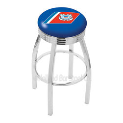"Holland Bar Stool - Holland Bar Stool L8C3C - Chrome U.S. Coast Guard Swivel Bar Stool - L8C3C - Chrome U.S. Coast Guard Swivel Bar Stool w/ 2.5 Inch Ribbed Accent Ring belongs to Military Collection by Holland Bar Stool Made for the ultimate sports fan, impress your buddies with this knockout from Holland Bar Stool. This contemporary L8C3C logo stool has a single-ring chrome base with a 2.5"" cushion and a 3"" chrome ribbed accent ring that helps the seat to ""pop-out"" at glance. Holland Bar Stool uses a detailed screen print process that applies specially formulated epoxy-vinyl ink in numerous stages to produce a sharp, crisp, clear image of your team's emblem. You can't find a higher quality logo stool on the market. The plating grade steel used to build the frame is commercial quality, so it will withstand the abuse of the rowdiest of friends for years to come. The structure is triple chomed to ensure a rich, sleek, long lasting finish. Construction of this framework is built tough, utilizing solid mig welds. If you're going to finish your bar or game room, do it right- with a Holland Bar Stool. Barstool (1)"