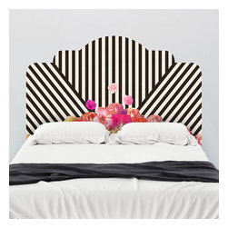 Bianca Green - Bianca Green Diagonal Flora Headboard Wall Decal - A staff favorite! This lovely headboard features bold diagonal lines and a feminine floral centerpieces. Create the perfect modernist bedroom with this adhesive headboard.