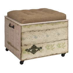"""IMAX - Evelyn Crate Storage Ottoman - Another delightful design by Ella Elaine, this storage ottoman features a tufted linen seat on a wooden crate with casters. Antique wall paper, iron handles and decorative metal flourishes all contribute to the vintage charm ofeethis unique piece. Item Dimensions: (20.5""""h x 17.5""""w x 16.5"""")"""