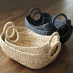 Ballard Designs - Provence Market Basket - Set of 2 - Coordinates with our original Provence Market Baskets. Roomy storage. Adds great natural texture in kitchen or bath. Rustic storage for tabletop or shelf. Our Provence Market Baskets are hand woven of naturally strong water hyacinth with rigid sides, so they won't collapse when you fill it. Use the sturdy wrapped handles to transport from room to room or to the car. Provence Market Basket features: . . .