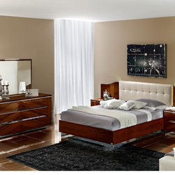 Luxurious Bedroom Collection - BUYS- Matrix Copmosition 8 Modern European High Gloss Italian Dark Walnut Finish With Leather Button Tufted Headboard Bedroom Set