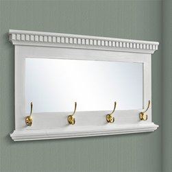 Mirrored Solid Oak Coat Rack with Classic Double Hooks - A lovely accent for your entryway, this solid oak coat rack features intricate dentil molding, a mirror and four double prong coat hooks mounted onto the bottom of the oak frame. Includes your choice of bronze, brass or iron coat hooks.