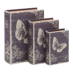 """Benzara - Book Box Set With Paris Butterfly Theme - This elegant and clever themed book box set is the perfect touch of Paris life. It features graphics of a fluttering butterfly set behind handwritten love notes. Create a bit of the romantic Parisian mood, from one of the most romantic places in the world. Perfect for the fireplace mantle or end table.; Made of wood and fabric; Sizes: 10""""x4""""x13"""", 7""""x3""""x11"""", 6""""x2""""x9"""""""