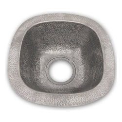 Houzer - Hammerwerks Lager Bar-Prep Sink Flat Lip - Bar Prep Sink/ Flat Lip. Lustrous Pewter finish. 14.5 in. x 14.5 in. inner dimension with a 6-7/8 in. depth. 3.5 in. drain size. Bowl Interior: 14.5 in. x 14.5 in. x 6.875 in. deep.. Hand Hammered Pewter. Flat Flip. 17.875 in. W x 17.875 in. H x 6.875 in. D