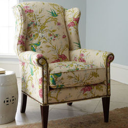 """Sophie Wing Chair - Be ready for spring with a fresh new look.  The """"Sophie"""" wing chair is a breath of fresh air with its lively green birds and bright pink flowers.  Nail-head trim is a finishing touch for this beautiful chair.    * 32""""W x 37""""D x 46""""T."""