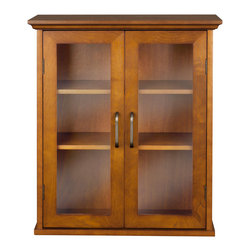 Elegant Home Fashions - 045 Elegant Home Fashions Lexington Wall Cabinet with 2 Doors - Lexington Wall Cabinet in an Oil Oak finish has an elegant crown molded top with two doors offering storage with style for your bathroom.  It is also very functional with two adjustable shelves.  The tempered glass-paneled doors  provides a clear view into the cabinet.  It also features metal knobs for easy opening. This cabinet comes with assembly hardware.