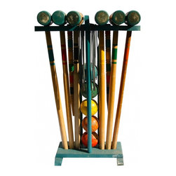 Croquet Set - A cute set made by H. Rademaker & Son's, complete with 6 mallets, 2 end stakes, 6 balls and 8 arches or wickets.  This set is in great shape with most of the bright paint still intact.  The red ball has a chip but is still useable.
