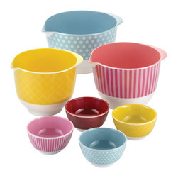Cake Boss - Cake Boss 7-Piece Melamine Mixing and Prep Bowl Set - This seven piece Cake Boss set of assorted large and small melamine bowls boasts hip,retro style and a bakeshop heritage look.