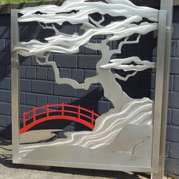 Satinless Steel Japanese and Asian Gate - Japanese bonsai gate with red bridge gate with 3D effect. 3D being that the gates are built and textured layer for layer by hand and welded together so that front and back have identical visual effects. (Not with a 3D Printer). All gates are engineered such that they are very solid and stable. Our Gates and railings make wonderful accents to ones entrance as they change there look depending on the angle you stand to them. There lighting and reflection colour change also due to there lighting, grinding and layering techniques. These designed and custom built stainless steel functional works fit to each individual customer and there needs. Construction is a combination from 3 and 5mm 304 Stainless steel. 316L alloy available at an adjusted price. Inc. all necessary hardware for installation on existing posts or walls.  Not inc. handling and shipping.