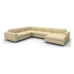 True Modern - Jackson FME Corner Chaise Sectional - The Jackson FME Corner Sectional Sofa with Chaise is the perfect compromise between our Sectional Sofas and the Sofa with Chaise. Get the best of both worlds. Throw your feet up on the chaise or relax on the oversized seat, while the low and wide arms and pillows make it the ultimate lounger, but the clean design still keeps it modern and hip. The seat cushions are wrapped in down and the back pillows are stuffed with luxurious blend of feather and down as well. Our exclusive baffled system helps keep the feathers in place so you won't need to constantly fluff the pillows. Designed by: Edgar Blazona Features: -Material: 100% Polyester.-Durable and soft with a great multi tone texture.-Add an ottoman and really kick back.-Wooden base is hidden so the sofa really appears to be floating on air.-Low slanted back let's you lay back, stretch out and relax.-Jackson collection.-Collection: Jackson.-Distressed: No.-Country of Manufacture: United States.Dimensions: -Dimensions: 17'' - 28'' H x 104'' - 138'' W x 42'' D.