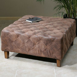 "Uttermost - Wetherly Quilted Ottoman - The Time-worn Feel Of Softened Leather, Captured In Velvety Polyester Fabric, Stitched And Tucked Into Quilted Comfort. Wooden Frame Features Weathered Walnut Legs. Uttermost's Ottomans Combine Premium Quality Materials With Unique High-style Design. Bulbs included?: NO; Overall Dimensions: 36""D x 36""W x 18.5""H"