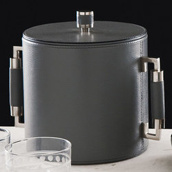 Global Views - Global Views Double Handle Ice Bucket Grey/Nickel - The Global Views double handle ice bucket lends the modern bar bold function. Handsome in gray leather, the chic accessory surprises with sleek silver accents. Nickel