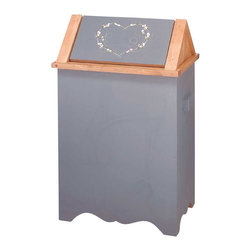 """Renovators Supply - Wastebaskets Slate Blue Wood 18""""  wide  23"""" high - Removable lid swings 360, Wood painted slate blue and stenciled with a heart motif.  This trash bin is 18"""" wide, 23"""" high and has a 12"""" proj."""