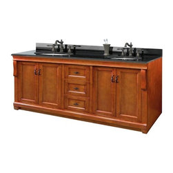 Pegasus - Naples 72 in. Double Vanity w Granite Top - N - Manufacturer SKU: NACAT7222D. Faucets not included. Transitional design. Tuxedo black granite top with 8 in. center faucet drillings. Four doors. Three full extension dovetail drawers. Black birdcage style hardware. Easy to clean PVC coated maple interior. Plywood side construction. Warm cinnamon finish. No assembly required. 72 in. W x 21.56 in. D x 34.75 in. H (280 lbs.)