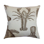 """The Pillow Collection - Ilaka Aquatic Pillow Bark - Sea creatures in bark orange/brown hue decorates this aquatic theme throw pillow. This accent pillow features various marine animals, which will surely remind you of the sea. This striking decor pillow brings a coastal vibe to any of your room. This 18"""" pillow looks great when paired with other patterns like geometric, zigzag and more. Made from 100% soft and durable cotton fabric. Hidden zipper closure for easy cover removal.  Knife edge finish on all four sides.  Reversible pillow with the same fabric on the back side.  Spot cleaning suggested."""