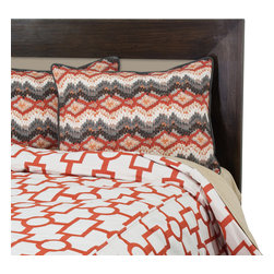 """Sands - Chooty - Ellington Mandarin Queen Duvet and 2 Chino Brick Birch Shams with Charcoal Cordi - This Duvet Set is striking, bold and an unquestionable focal point for your room. The ivory duvet with a trendy geometric pattern in a versatile mandarin color is paired with 2 charcoal corded shams in shades of ivory, mandarin orange and grey in a circle chain zig-zag design. A stylish combination that will add pizzazz to your modern decor. (Queen Size 90""""W x 94""""L)"""