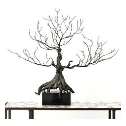 Imperial Penzai Sculpture - Mounted on a glossy block of dark granite, the Imperial Penzai achieves the illusion of growing, skeletal life, its roots overlapping and floating over the base and its branches delicately spare above. Cast from a magnificent bonsai specimen, this truly grand sculptural piece captures every crevice of the authentic bark in a deeply-colored, lifelike bronze.