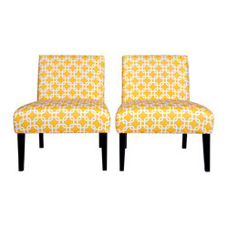 Portfolio Niles Yellow Geometric Links Armless Chair - This pair of yellow geometric beauties could liven up any space with their sunshine.
