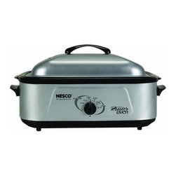 Metal Ware Corp. - Nesco 18 Qt. Pro Roaster Oven - Nesco 18 Qt Professlional Stainless Steel Roaster Oven with Porcelain Cookwell and Stainless Steel Cover. Holding .60 cubic feet, this electric oven can steam, roast and bake. It can be quite useful for a college student wanting a more home cooked meal or for those making multicourse dinners with limited oven space.