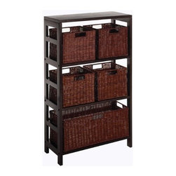 Winsome Wood - Leo Shelf and Baskets, Set of 6 - Our Leo Shelf has three sections that includes five basket, one large & four small that are elegant yet functional. Mix and match with the other espresso storage shelves.