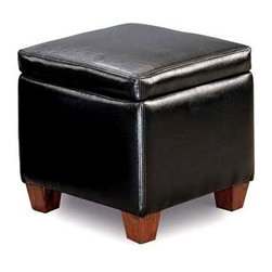 Coaster - Storage Cube Ottoman (Black) - Color: BlackCasual style. Plush top cushion lifts off to reveal enclosed storage. Square tapered feet. Made from rich faux leather. Dark wood finish. 18 in. W x 18 in. D x 18 in. H. WarrantyThis lovely casual cube ottoman will be a nice addition to your home. Use in your living room, family room, or other areas for a comfortable touch.