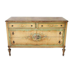 Pre-owned French Painted Dresser - It doesn't get more French than this! This French hand painted dresser has perfectly distressed crackle finish with soft cream and blue coloring and a lovely garden scene. There is normal vintage wear to the paint finish.