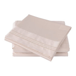 "Honeymoon - Honeymoon 100%Cotton 500 Thread Count Embroidery 4PC Bed Sheet Set, Tan, Ck - California King Size 4pc Set - Flat Sheet 108""*102"", Fitted Sheet 72""*84"", 2 Pillowcases 20""*40"""