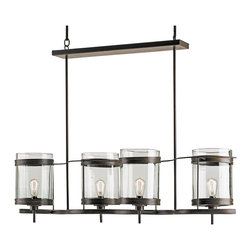 Kathy Kuo Home - Aonzo Coastal Beach Style Glass Iron 4 Light Island Chandelier - Stylish and streamlined, this sleek, modern chandelier is finished in bronzed gold with four chic, cylindrical glass shades. Evoking a bright, breezy beach, this hanging fixture is at home in any coastal cottage.