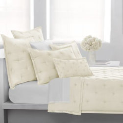 Dkny - DKNY City Silk European Pillow Sham in Ivory - Create a serene and sensuous bedroom experience with these pillow shams. They are the perfect way to complement the DKNY City Silk quilt.