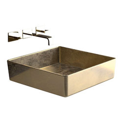 "Art Design - FOUR Lux FOURFO Square Vessel Sink in Gold Leaf 15.7"" x 15.7"" - Vessel Bathroom Sink"