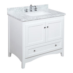 Kitchen Bath Collection - Abbey 36-in Bath Vanity (Carrara/White) - This bathroom vanity set by Kitchen Bath Collection includes a white Shaker-style cabinet with soft-close drawer and self-closing door hinges, double-thick Carrara marble countertop (an incredible 1.5 inches thick at the edge!), undermount ceramic sink, pop-up drain, and P-trap. Order now and we will include the pictured three-hole faucet and a matching backsplash as a free gift! All vanities come fully assembled by the manufacturer, with countertop & sink pre-installed.