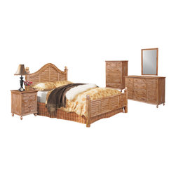 "SEAWINDS TRADING - Tortuga Tropical 5 Piece Wooden Bedroom Set - The Tortuga is a high end solid solid natural wood group that boasts the unique ""Cinnamon"" stain. This group will turn your bedroom into a tropical paradise. Its all quality with steel glide drawers and heavy wicker weave. The pricing is excellent for such nice solid wood bedroom furniture."