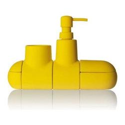 Seletti - Submarino Bathroom Accessory Set by Seletti - To keep your bathroom ship shape, the Seletti Submarino Bathroom Accessory Set includes 4 separate modules made out of porcelain. There's one container for cotton balls, a soap dispenser, toothbrush holder and another container for hairbands or other small bath essentials. When arranged together, internal magnets ensure that all modules stay perfectly inline. Founded in 1964 as an importer of home furnishings, Seletti has since evolved into a moving force in the original designs of such products. The company works with a range of designers in Italy and worldwide to create furniture, lighting and furnishings for the kitchen, table and office that are both useful and unexpected. As it has since the beginning, Seletti is based in Cicognara, Italy.