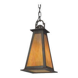 """Troy - Lucerne Collection 14 1/2"""" High Hanging Outdoor Light - Add this handsome hanging outdoor light to your home for that casual and modern look. The Mission-style light features a hand-forged iron frame in a statuary bronze finish frame. It is complemented by iridescent honey glass which gives it a warm light. Can also be used indoors. Takes one 100 watt bulb (not included). Measures 14 1/2"""" high 8"""" wide.  Statuary bronze finish.  Iridescent honey glass.  Takes one 100 watt bulb (not included).  14 1/2"""" high.  8"""" wide."""