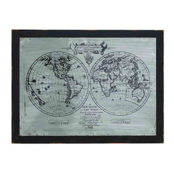 UMA - Two Hemispheres World Map Artwork - Made of a wooden frame under metal sculpture, this classic world map features both hemispheres in timeless silver and black