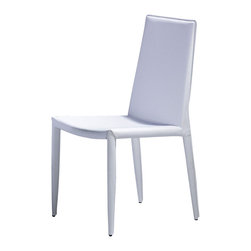 Moe's Home Collection - Moe's Home Lusso Dining Chair in White Leather (Set of 2) - Fully upholstered chair