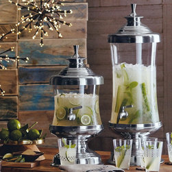 Cairo Beverage Servers - Mouth blown glass supported and topped with recycled aluminum then fitted with stainless steel spigots to serve drinks or punches in stately style.