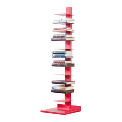 Holly & Martin - Holly & Martin Heights Book/Media Tower-Watermelon - Minimalist design meets invigorating color in this artsy media tower, perfect in smaller spaces or anywhere you need a vertical piece. Store your books, magazines, movies or knickknacks on the eleven shelves. The bright painted finish and powder-coated metal will last you for years.