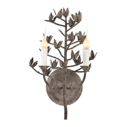 Kathy Kuo Home - French Country Dried Cotton Stem Organic Metal Sconces - Pair - Designed after a dried cotton stem, this metal hand forged sconce is organic and elegant.